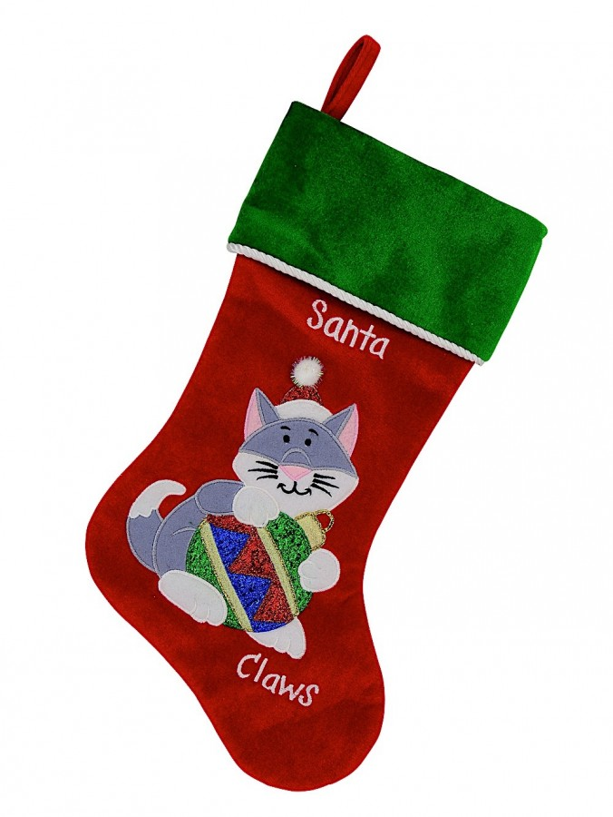 Red Velvet Santa Claws Christmas Stocking With Cat Embroidery - 40cm