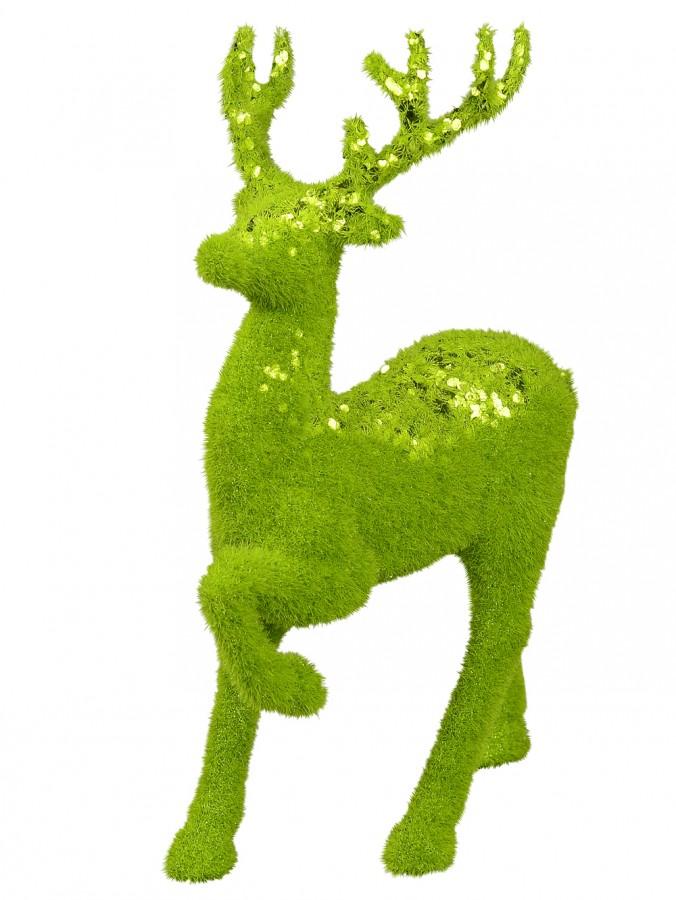 Prancing Lime Green Sequined Forest Reindeer Ornament - 30cm