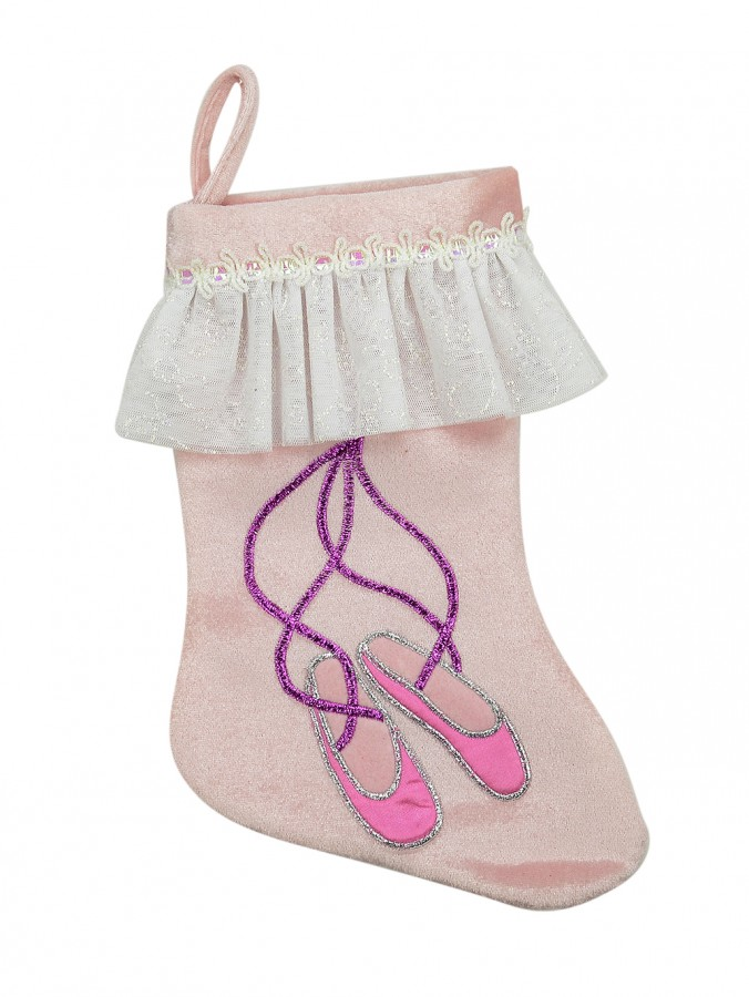Pink Velvet Ballet Slipper Stocking - 30cm