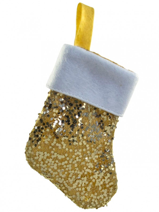 Mini Gold Sequin Stocking Decorations - 6 x 15cm