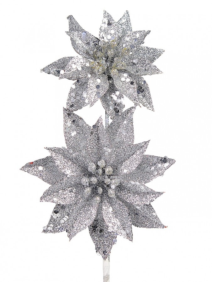 Silver Glitter Poinsettia Pick With 2 Flowers On Single Stem - 30cm