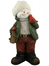 nordic resin snowman decor holding cardinal bird house 61cm