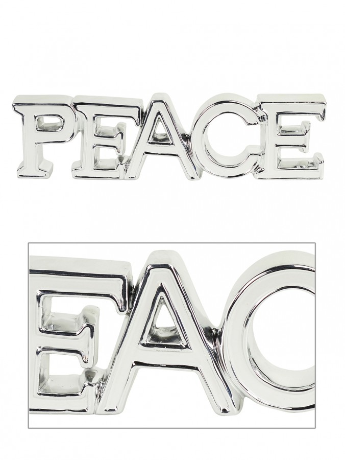 Ceramic White & Silver ' PEACE ' Freestanding Ornament - 38cm
