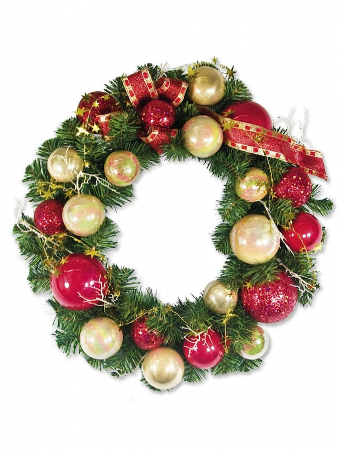Pre-Decorated Red & Gold Bauble & Pine Wreath With Twigs - 44cm