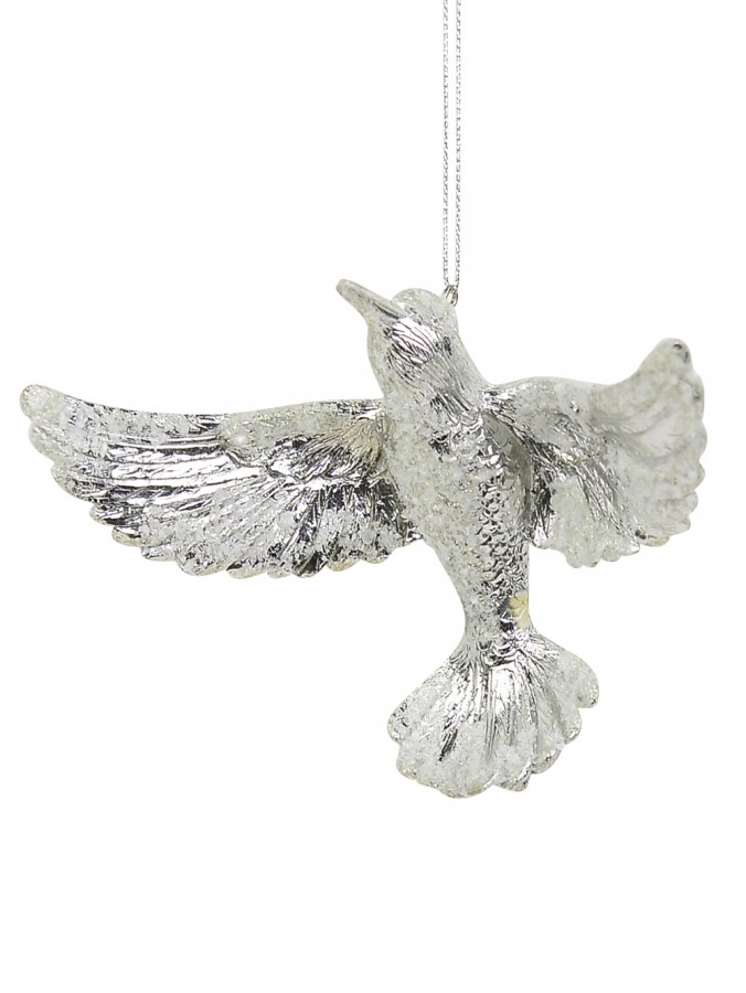 Silver Bird Hanging Ornament - 12cm