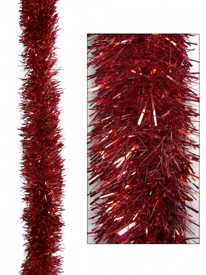 Red Metallic 8ply Tinsel Garland - 10cm x 5m