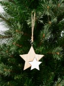 Natural & White Wooden Five Point Stars Hanging Decoration - 10cm