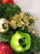 Pre-Decorated Red, Green & Gold Bauble & Pine Wreath - 38cm