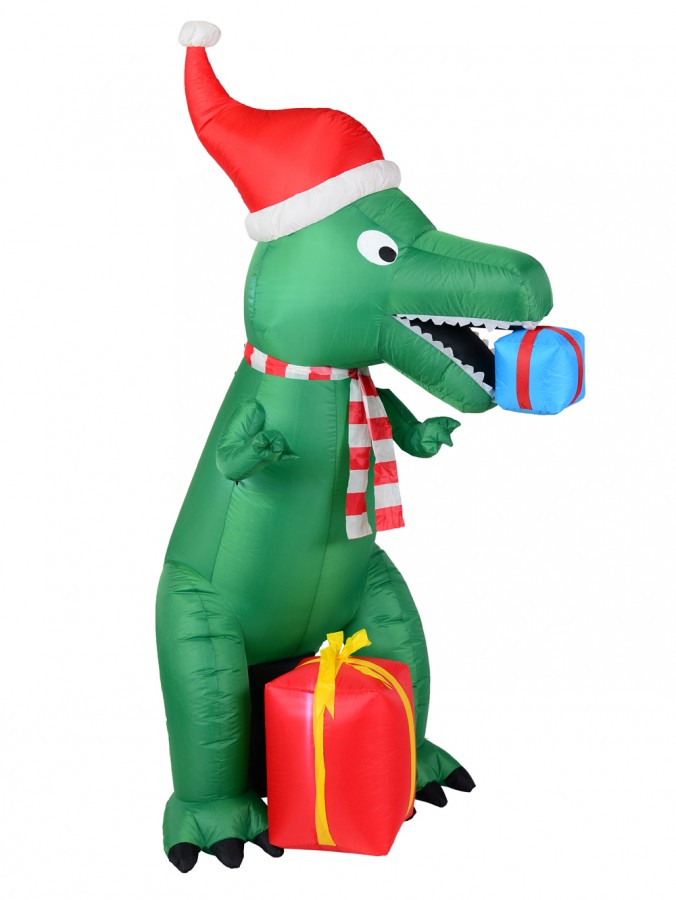 Green T-Rex Dinosaur Inflatable With Santa Hat & Gifts - 2.1m