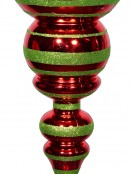 Apple Red & Green Flattened Bauble Shape Large Finial Display Decoration - 52cm
