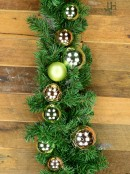 Decorated Antique Mint & Rose Gold Baubles Pine Garland - 2.3m
