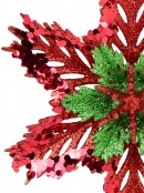 3D Red & Green Snowflake Christmas Tree Hanging Decoration - 15cm