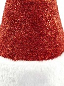 Red Glittered With Fluffy White Trim Traditional Christmas Santa Hat - 38cm