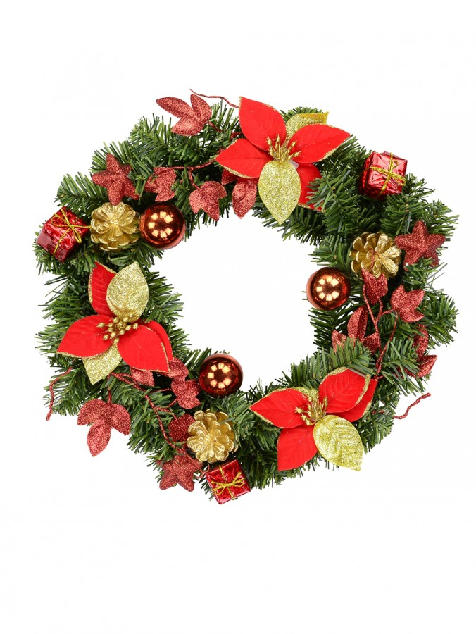 Decorated Red, Green & Gold Mixed Foliage & Floral Pine Wreath  - 35cm