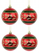 Metallic Red Baubles With Gold Glitter Pattern & Green Stripes - 4 x 80mm
