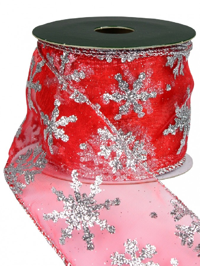 Silver Glittered Edged & Snowflake Pattern Sheer Red Christmas Ribbon - 3m