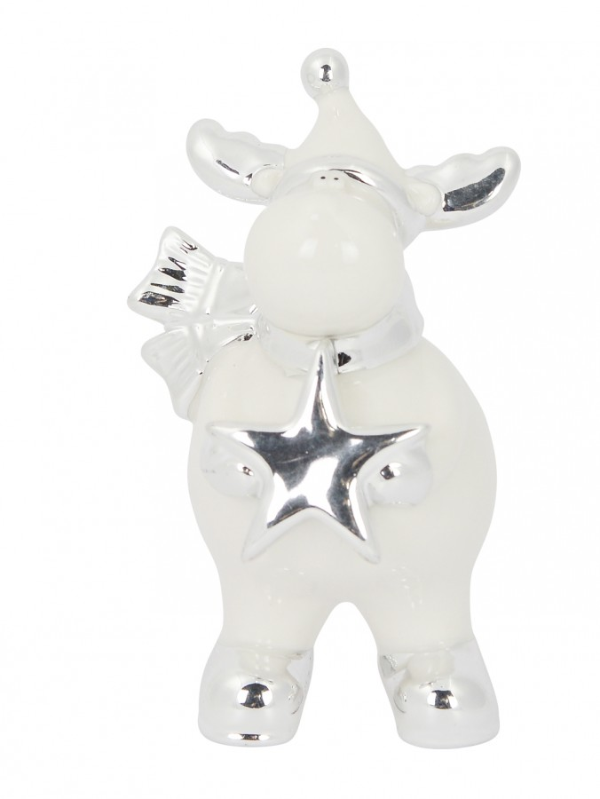 Ceramic Reindeer Standing Ornament In White Gloss & Silver - 14cm
