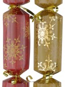 Red & Gold With Snowflakes Pattern Christmas Cracker Bon Bons - 12 x 30cm