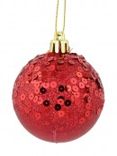 Red & Gold Crackle Effect Baubles With Sequins Design - 6 x 60mm