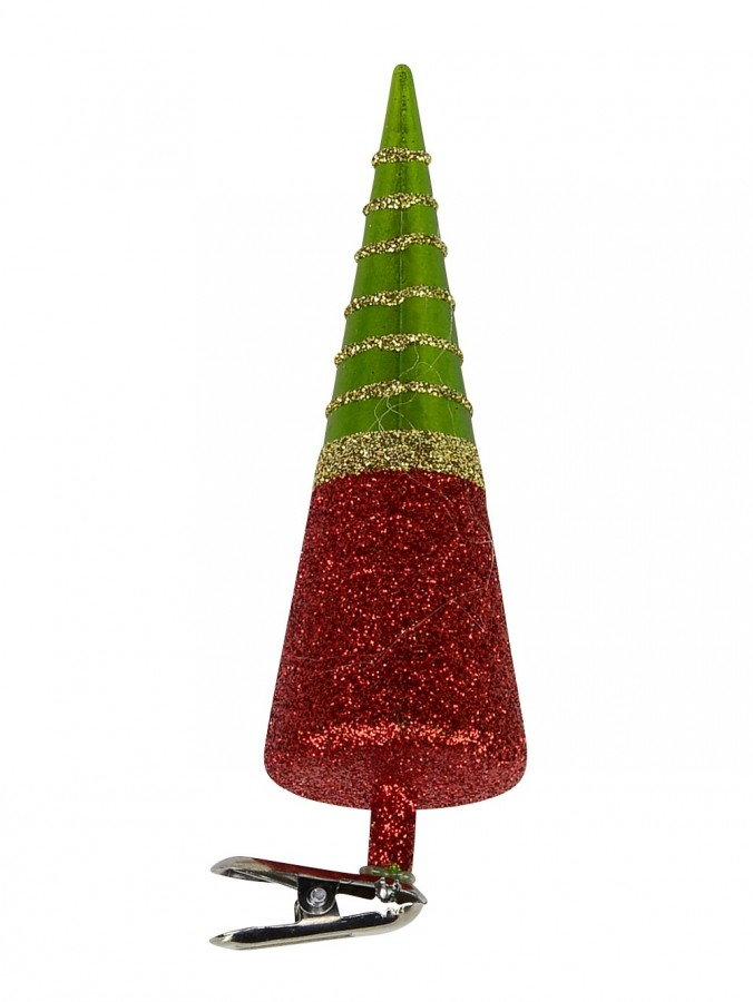 Red, Green & Gold Cone Shape Tree Christmas Tree Clip On Decoration - 13cm