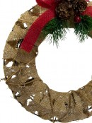 Decorated Hessian 3D Wired Wreath - 25cm