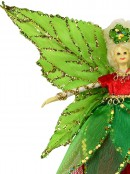 Green Dress & Wings Christmas Fairy Hanging Ornament - 18cm