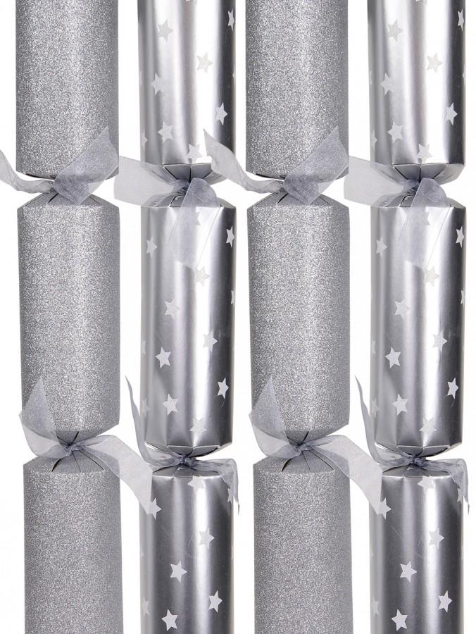 Silver Glitter & Stars Bon Bons - 37cm x 10 Pack