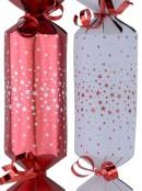 Red & White Stars Design Pattern Christmas Cracker Bon Bons - 12 x 30cm