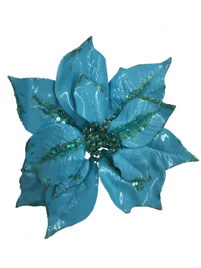 Turquoise With Sequins Decorative Poinsettia Floral Pick - 28cm