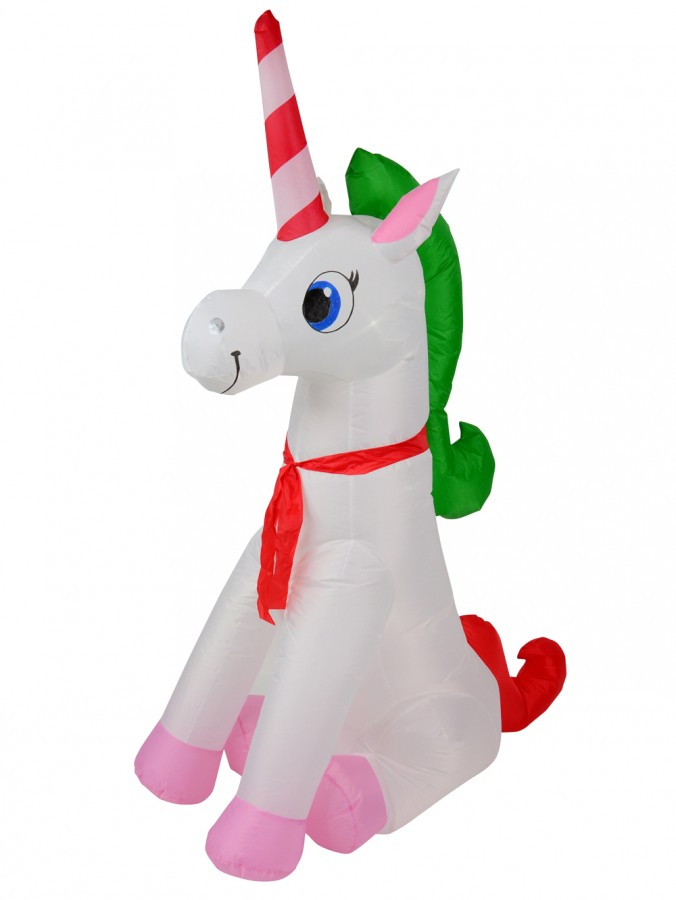 Happy Christmas Sitting Unicorn Illuminated Inflatable - 1.9m