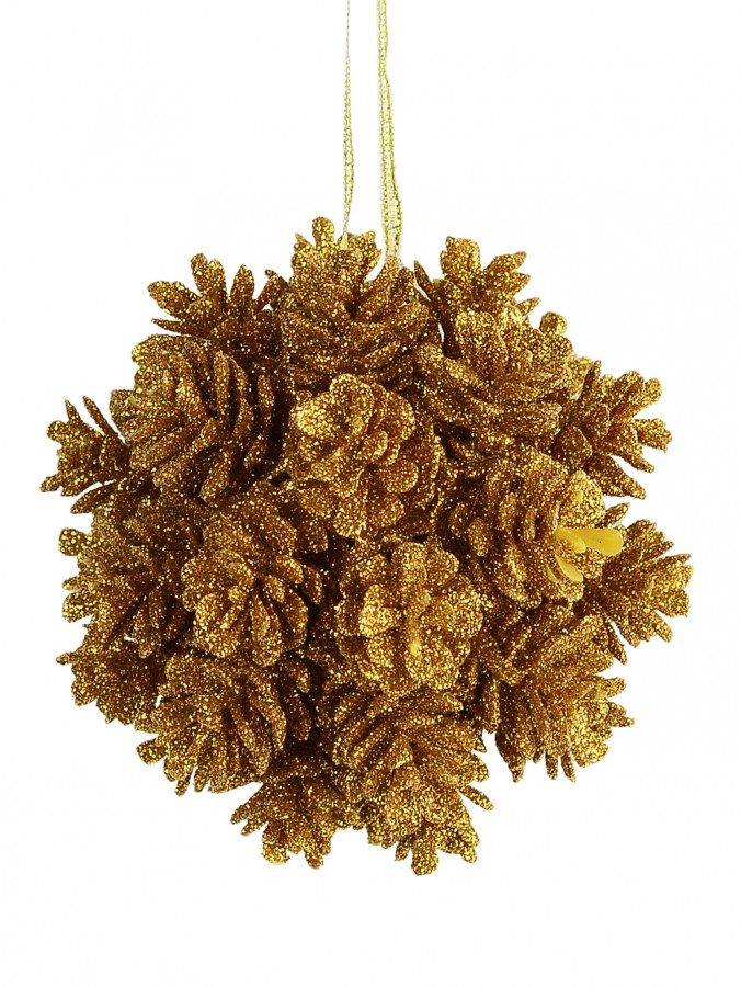 Bronze Pine Cone Ball Hanging Decoration - 10cm