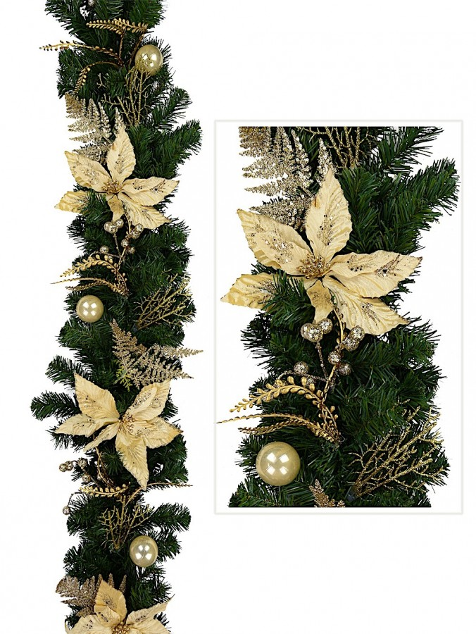 Classic Gold & Champagne Garland With Poinsettias, Baubles & Berries - 1.8m
