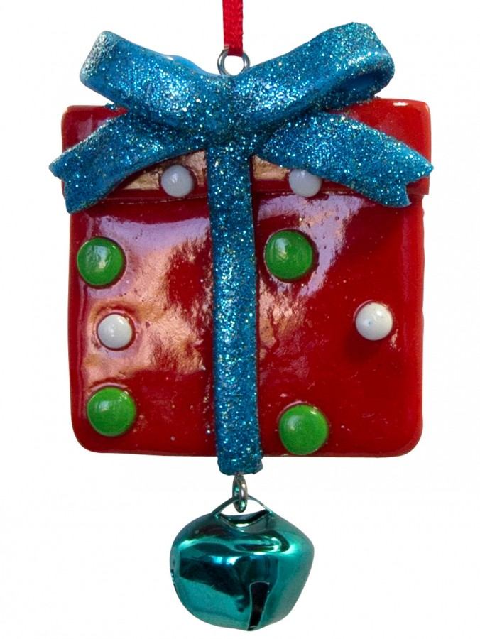 Red Present Clay Dough Hanging Ornament - 85mm