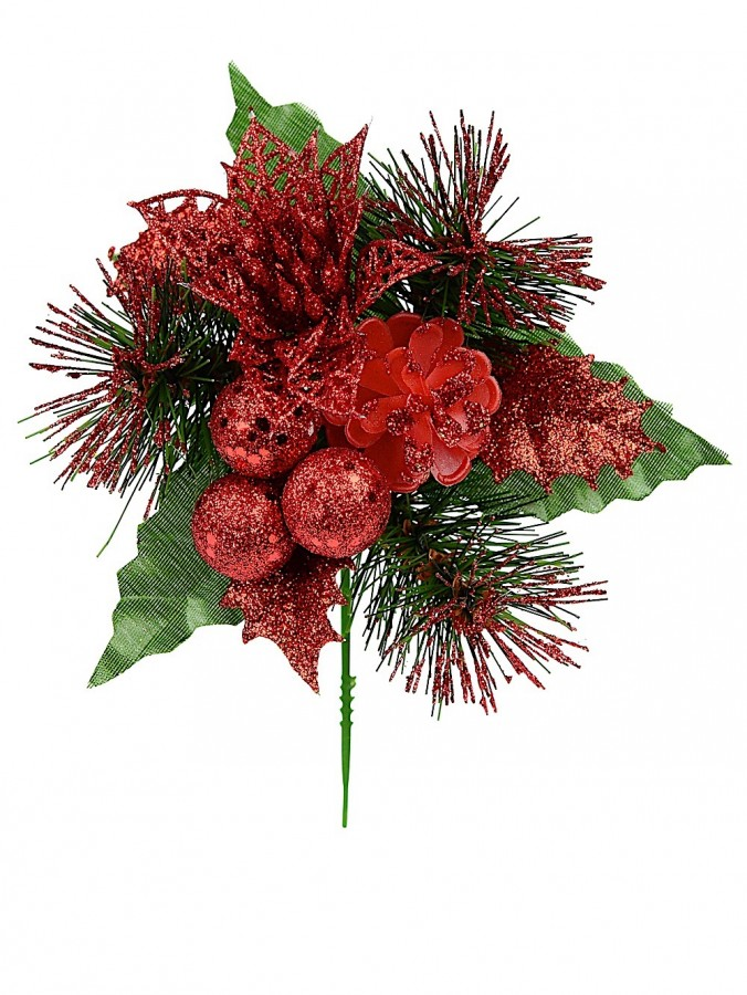 Red Glittered Decorative Berry, Holly & Assorted Decorations Floral Pick - 17cm