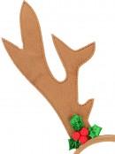 Brown Velvet Reindeer Antlers With Mistletoe Decorations - 26cm