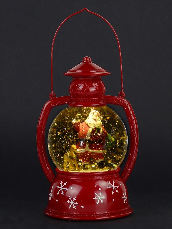 Santa & Reindeer In Hurricane Lamp Snow Globe Ornament ...