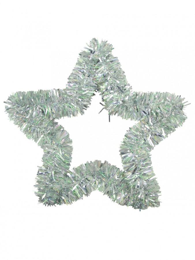 Silver Metallic Tinsel Star Hanging Decoration - 48cm