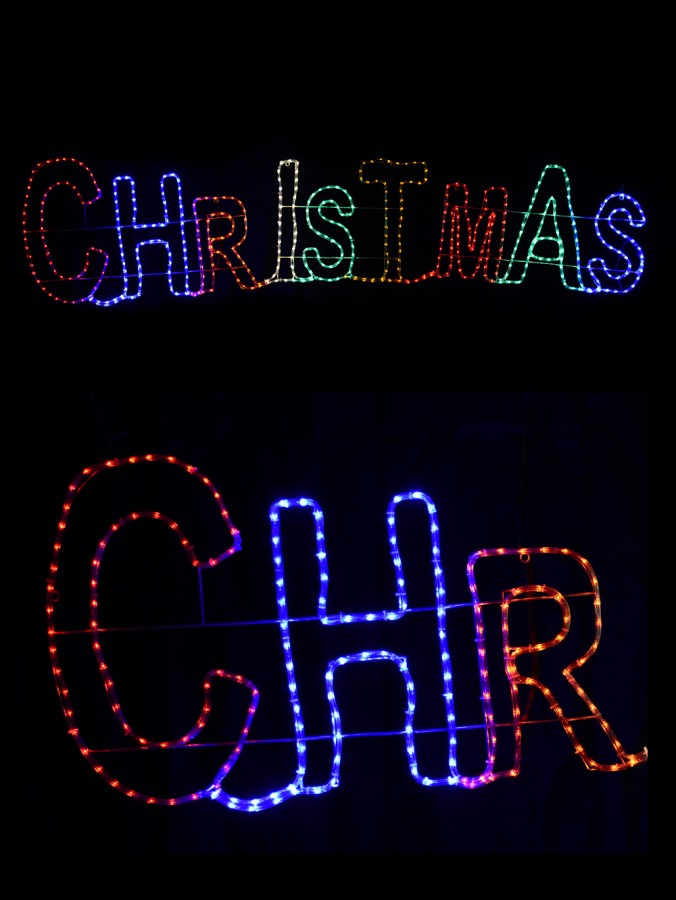 Multi Colour Large Christmas LED Rope Light Silhouette - 2.9m