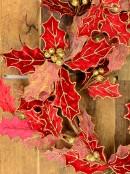 Decorative Red Poinsettia Glittered Vine Wreath - 64cm