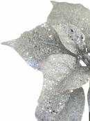 Silver Sequin & Glitter Decorative Poinsettia Floral Pick - 26cm