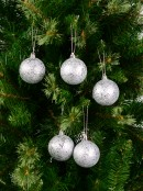 Silver Metallic Sequins & Glitter Coated Baubles - 12 x 60mm