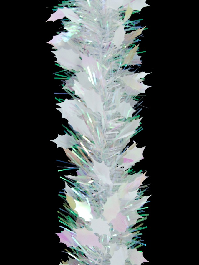 White & Iridescent Holly Leaf Pine Needle Tinsel Garland - 2.7m