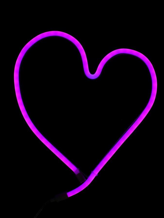 Pink Flat Neon Flex Heart Shaped Rope Light Display - 28cm