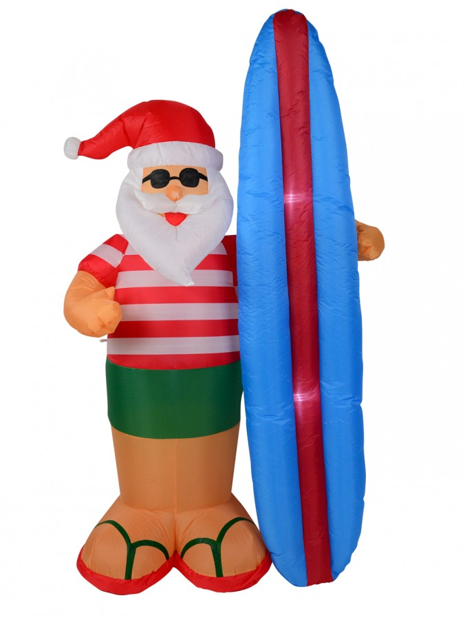 Santa Ready To Catch Some Waves With Surfboard Illuminated Inflatable  - 2.1m