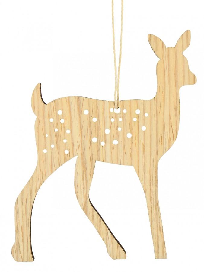 Natural Wood 2D Reindeer Hanging Decoration - 10cm
