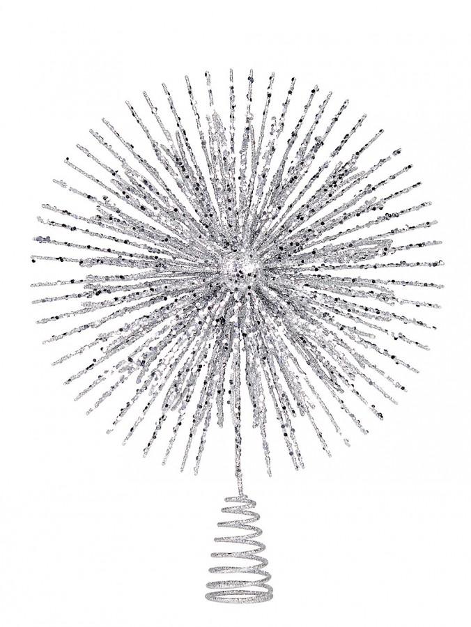 Silver Glitter Starburst Christmas Tree Topper - 38cm
