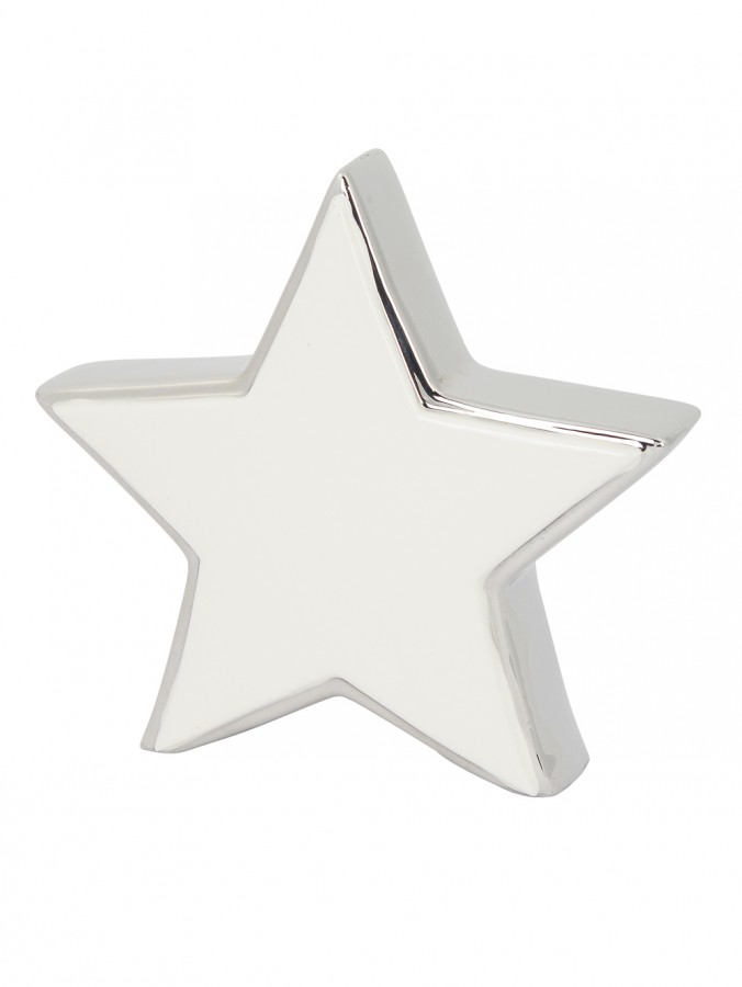 Ceramic Star Standing Ornament in White & Silver - 16cm
