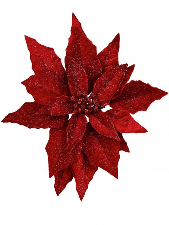 Deep Red Glittered Velvet Decorative Poinsettia Floral Pick - 28cm