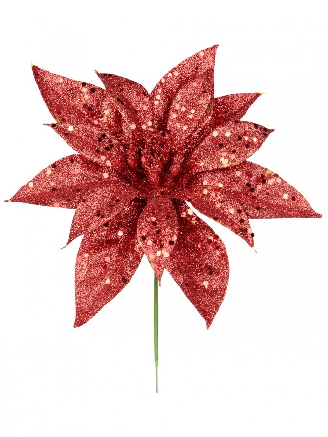 Red Glittered Decorative Poinsettia Floral Pick - 19cm