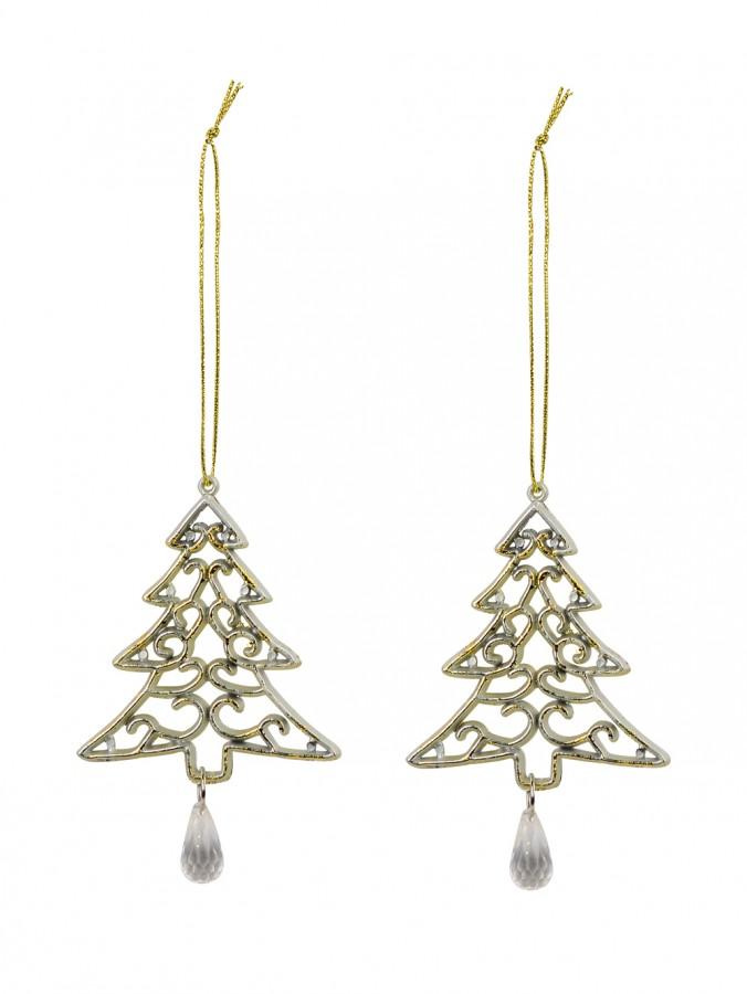 Gold Tree Shape Swirl Design Christmas Tree Hanging Decorations - 2 x 12cm
